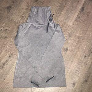 Grey Nike Tie Funnel Neck Compression Shirt